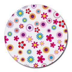 Floral Flowers Background Pattern Round Mousepads by Nexatart