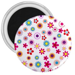 Floral Flowers Background Pattern 3  Magnets by Nexatart