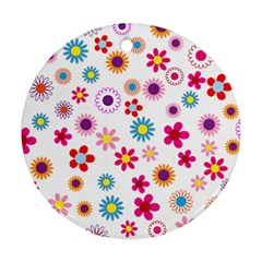 Floral Flowers Background Pattern Ornament (round) by Nexatart