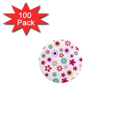 Floral Flowers Background Pattern 1  Mini Magnets (100 Pack)  by Nexatart