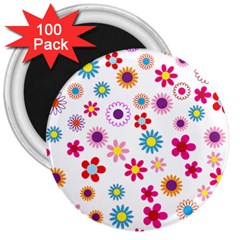 Floral Flowers Background Pattern 3  Magnets (100 Pack)
