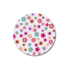 Floral Flowers Background Pattern Rubber Coaster (round)