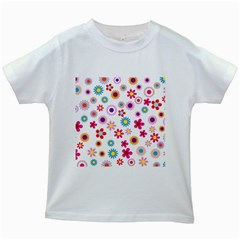 Floral Flowers Background Pattern Kids White T Shirts