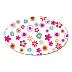 Floral Flowers Background Pattern Oval Magnet