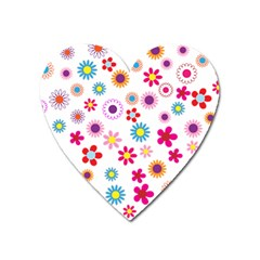 Floral Flowers Background Pattern Heart Magnet by Nexatart