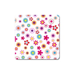 Floral Flowers Background Pattern Square Magnet