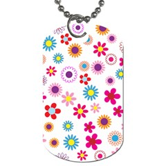 Floral Flowers Background Pattern Dog Tag (two Sides) by Nexatart