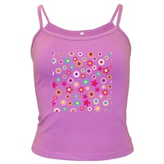 Floral Flowers Background Pattern Dark Spaghetti Tank
