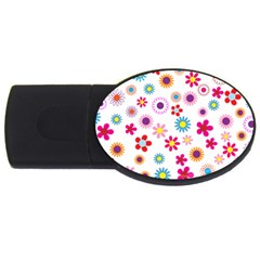 Floral Flowers Background Pattern Usb Flash Drive Oval (4 Gb) by Nexatart