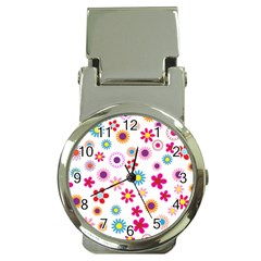 Floral Flowers Background Pattern Money Clip Watches