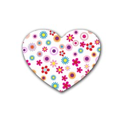 Floral Flowers Background Pattern Rubber Coaster (heart)  by Nexatart