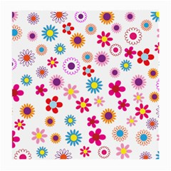 Floral Flowers Background Pattern Medium Glasses Cloth (2 Side)