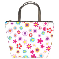Floral Flowers Background Pattern Bucket Bags by Nexatart