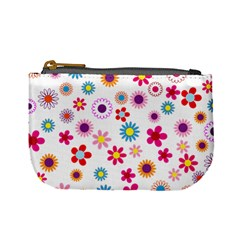 Floral Flowers Background Pattern Mini Coin Purses