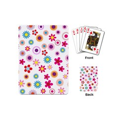 Floral Flowers Background Pattern Playing Cards (mini)  by Nexatart