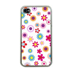 Floral Flowers Background Pattern Apple Iphone 4 Case (clear) by Nexatart
