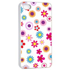 Floral Flowers Background Pattern Apple Iphone 4/4s Seamless Case (white) by Nexatart