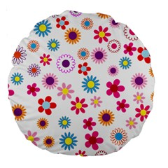 Floral Flowers Background Pattern Large 18  Premium Round Cushions by Nexatart