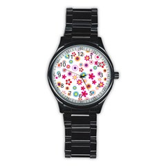 Floral Flowers Background Pattern Stainless Steel Round Watch by Nexatart