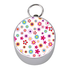 Floral Flowers Background Pattern Mini Silver Compasses by Nexatart