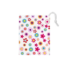 Floral Flowers Background Pattern Drawstring Pouches (small)