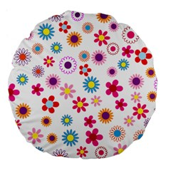Floral Flowers Background Pattern Large 18  Premium Flano Round Cushions by Nexatart