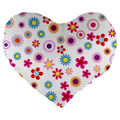 Floral Flowers Background Pattern Large 19  Premium Flano Heart Shape Cushions