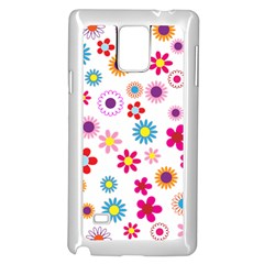 Floral Flowers Background Pattern Samsung Galaxy Note 4 Case (white)