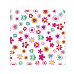 Floral Flowers Background Pattern Small Satin Scarf (square) by Nexatart