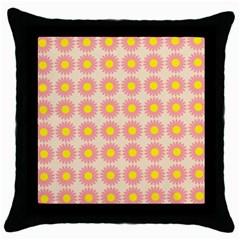 Pattern Flower Background Wallpaper Throw Pillow Case (black) by Nexatart