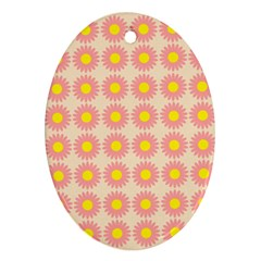 Pattern Flower Background Wallpaper Oval Ornament (two Sides) by Nexatart