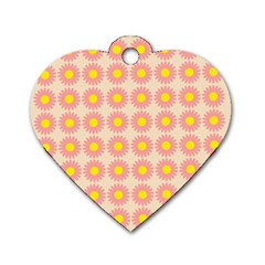 Pattern Flower Background Wallpaper Dog Tag Heart (one Side)