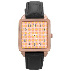 Pattern Flower Background Wallpaper Rose Gold Leather Watch  by Nexatart
