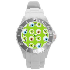 Eyes Background Structure Endless Round Plastic Sport Watch (l)