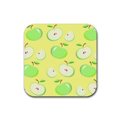 Apples Apple Pattern Vector Green Rubber Coaster (square)