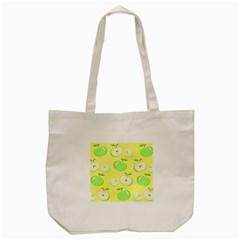 Apples Apple Pattern Vector Green Tote Bag (cream) by Nexatart