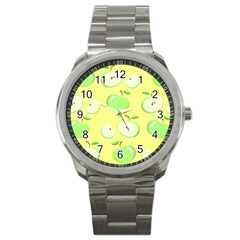 Apples Apple Pattern Vector Green Sport Metal Watch by Nexatart