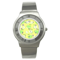 Apples Apple Pattern Vector Green Stainless Steel Watch by Nexatart
