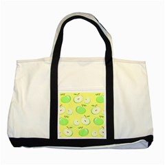 Apples Apple Pattern Vector Green Two Tone Tote Bag by Nexatart