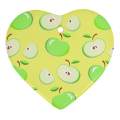 Apples Apple Pattern Vector Green Heart Ornament (two Sides)
