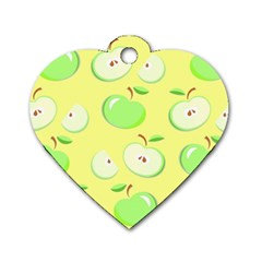 Apples Apple Pattern Vector Green Dog Tag Heart (two Sides) by Nexatart