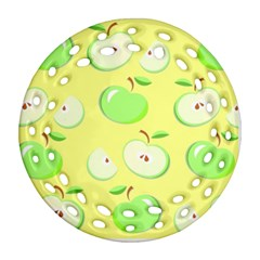 Apples Apple Pattern Vector Green Ornament (round Filigree) by Nexatart