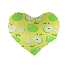 Apples Apple Pattern Vector Green Standard 16  Premium Flano Heart Shape Cushions