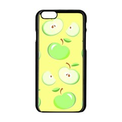 Apples Apple Pattern Vector Green Apple Iphone 6/6s Black Enamel Case