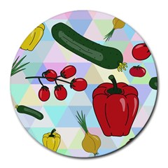 Vegetables Cucumber Tomato Round Mousepads by Nexatart