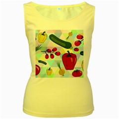 Vegetables Cucumber Tomato Women s Yellow Tank Top