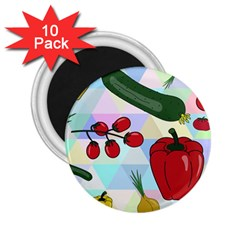 Vegetables Cucumber Tomato 2 25  Magnets (10 Pack)