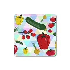 Vegetables Cucumber Tomato Square Magnet