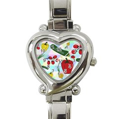 Vegetables Cucumber Tomato Heart Italian Charm Watch by Nexatart