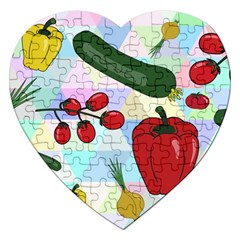 Vegetables Cucumber Tomato Jigsaw Puzzle (heart)